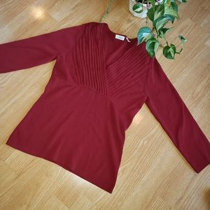 Cato Burgundy Red Blouse Career Casual Shirt Med